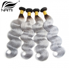 NAMI HAIR Ombre Color T1B/Grey Brazilian Body Wave Virgin Human Hair Extensions 4 Bundles