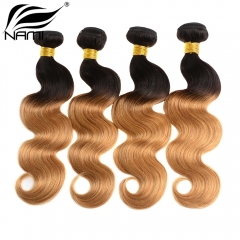 NAMI HAIR Ombre Color T1B/27 Brazilian Body Wave Human Hair Extensions 4 Bundles