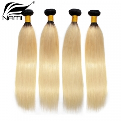 NAMI HAIR Ombre Color T1B/613 Brazilian Straight Virgin Human Hair Extensions 4 Bundles