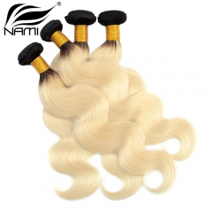 NAMI HAIR Ombre Color T1B/613 Brazilian Body Wave Virgin Human Hair Extensions 4 Bundles