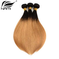 NAMI HAIR Ombre Color T1B/27 Brazilian Straight Human Hair Extensions 3 Bundles