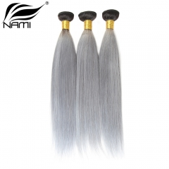 NAMI HAIR Ombre Color T1B/Grey Brazilian Straight Virgin Human Hair Extensions 3 Bundles