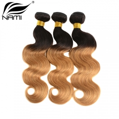 NAMI HAIR Ombre Color T1B/27 Brazilian Body Wave Human Hair Extensions 3 Bundles