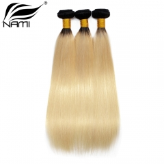 NAMI HAIR Ombre Color T1B/613 Brazilian Straight Virgin Human Hair Extensions 3 Bundles