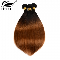 NAMI HAIR Ombre Color T1B/30 Brazilian Straight Human Hair Extensions 3 Bundles