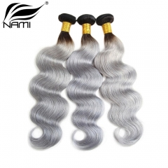 NAMI HAIR Ombre Color T1B/Grey Brazilian Body Wave Virgin Human Hair Extensions 3 Bundles