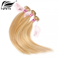 NAMI HAIR 27/613 Piano Color Brazilian Straight Virgin Human Hair Extensions 3 Bundles