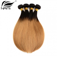 NAMI HAIR Ombre Color T1B/27 Brazilian Straight Human Hair Extensions 4 Bundles