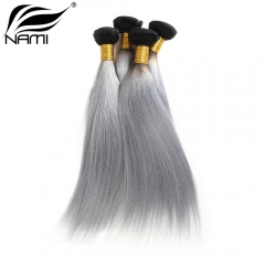 NAMI HAIR Ombre Color T1B/Grey Brazilian Straight Virgin Human Hair Extensions 4 Bundles