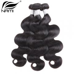 NAMI HAIR Natural Color Body Wave Virgin Human Hair Extensions 3 Bundles