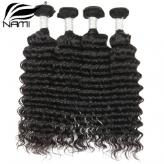NAMI HAIR Natural Color Deep Wave Virgin Human Hair Extensions 4 Bundles