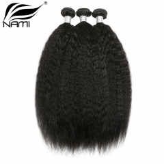 NAMI HAIR Natural Color Brazilian Kinky Straight Virgin Human Hair Extensions 3 Bundles