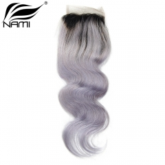 NAMI HAIR T1B/Grey Ombre Color 4x4 Lace Closure Brazilian Body Wave Virgin Human Hair