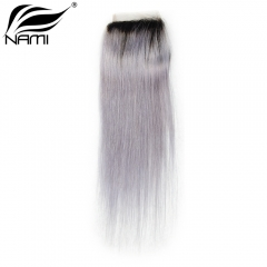 NAMI HAIR T1B/Grey Ombre Color 4x4 Lace Closure Brazilian Straight Virgin Human Hair
