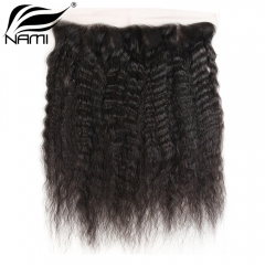 NAMI HAIR 13x4 Lace Frontal Closure Brazilian Kinky Straight Virgin Human Hair Natural Color