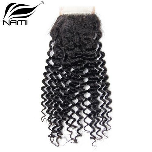 NAMI HAIR 4x4 Lace Closure Brazilian Deep Wave Virgin Human Hair Natural Color