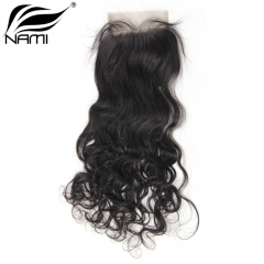 NAMI HAIR 4x4 Lace Closure Brazilian Natural Wave Virgin Human Hair Natural Color