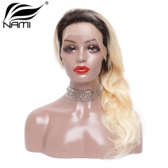 NAMI HAIR Ombre Color T1B/613 150% Density Lace Wig Brazilian Straight Virgin Human Hair