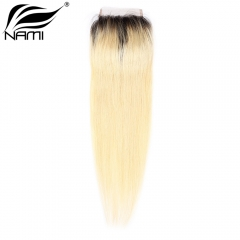 NAMI HAIR T1B/613 Ombre Color 4x4 Lace Closure Brazilian Straight Virgin Human Hair