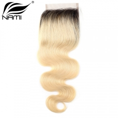 NAMI HAIR T1B/613 Ombre Color 4x4 Lace Closure Brazilian Body Wave Virgin Human Hair