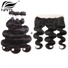 NAMI HAIR Natural Color Brazilian Body Wave Virgin Hair 3 Bundles With Free Part Lace Frontal Closure