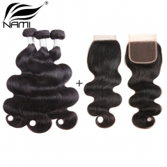 NAMI HAIR Natural Color Brazilian Body Wave Virgin Hair 3 Bundles With Lace Closure