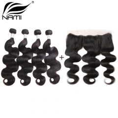 NAMI HAIR Natural Color Brazilian Body Wave Virgin Hair 4 Bundles With Free Part Lace Frontal Closure