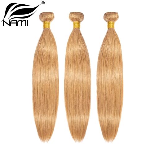 NAMI HAIR 27 Blonde Color Brazilian Straight Human Hair Extensions 3 Bundles