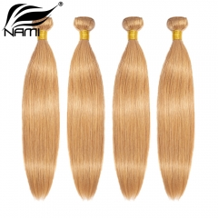 NAMI HAIR 27 Blonde Color Brazilian Straight Human Hair Extensions 4 Bundles