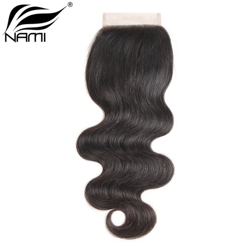 NAMI HAIR 4x4 Lace Closure Brazilian Body Wave Virgin Human Hair Natural Color