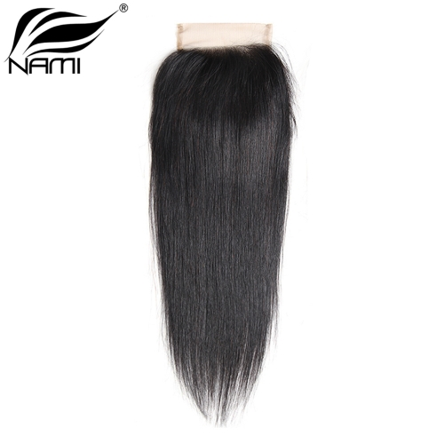 NAMI HAIR 4x4 Lace Closure Brazilian Straight Virgin Human Hair Natural Color