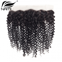 NAMI HAIR 13x4 Lace Frontal Closure Brazilian Kinky Curly Virgin Human Hair Natural Color