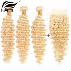 NAMI HAIR 613 Blonde Color Brazilian Virgin Hair Deep Wave 3 Bundles With Lace Closure