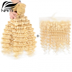 NAMI HAIR 613 Blonde Color Brazilian Virgin Hair Deep Wave 3 Bundles With Lace Frontal Closure
