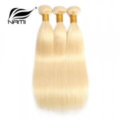 NAMI HAIR 613 Blonde Color Brazilian Straight Virgin Human Hair Extensions 3 Bundles