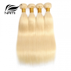 NAMI HAIR Blonde 613 Color Brazilian Straight Virgin Human Hair Extensions 4 Bundles